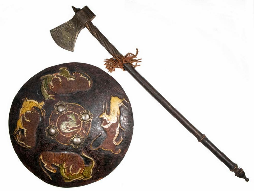 19TH C. INDO-PERSIAN PROCESSIONAL SHIELD & BATTLE AXE