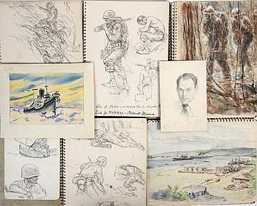 20 WWII Drawings  &  2 Watercolors by Kerr Eby