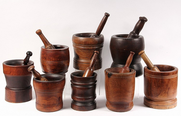 (8) MORTAR & PESTLE - Eight 18th-19th c American Lignum Vitae Mortar and Pestle, all with what appear to be the original pestles, rangi