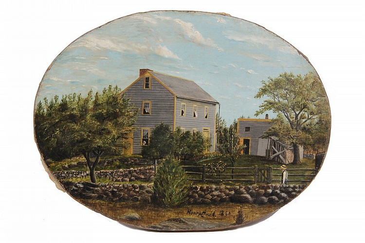 OIL ON CANVAS - Oval View of New England Farm signed Henry Cook and dated 1860, unframed, 10