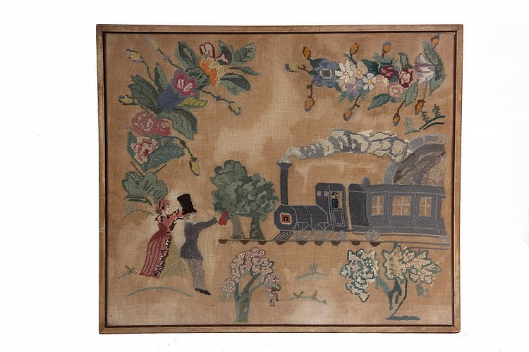 STITCHWORK - Early 1840s Vintage Stitchwork Depicting Early Steam Locomotive pulling single car, SS: 19 1/2