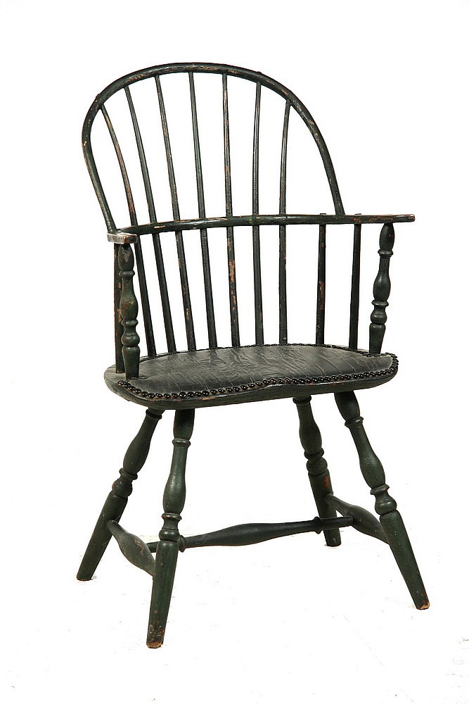 WINDSOR CHAIR - American Country Sack Back Windsor Chair, ca 1790, in the old black paint with tacked oilcloth seat covering, 17