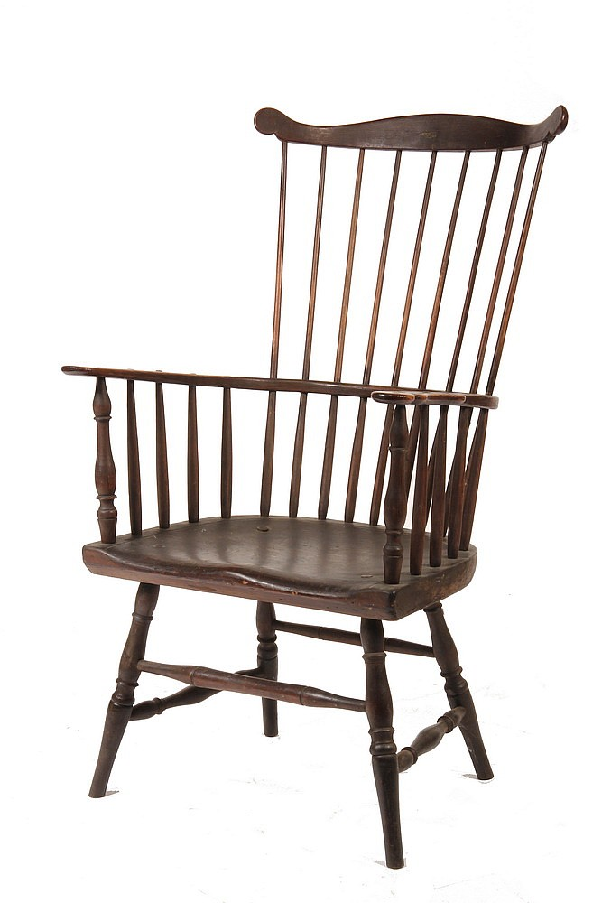 WINDSOR CHAIR - 18th c Boldly Shaped Windsor Comb Back Armchair with grand proportions, probably New York or New Jersey, 17