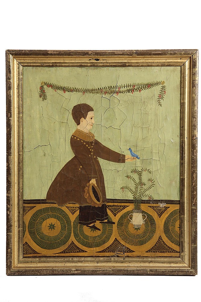 OOC - Federal Period Naïve Portrait of a Young Boy holding a bluebird over a potted plant, unsigned, in the original lemon gold molded