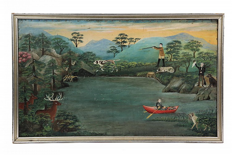 OIL ON TIN - Primitive New England Hunting Scene, with three men, three dogs, quail and deer around lake in the mountains, unsigned, ci