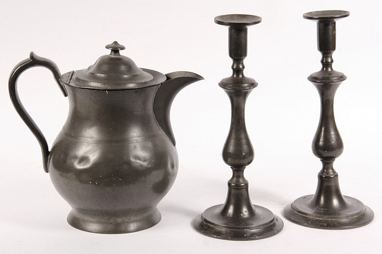 (3 PCS) EARLY PEWTER - Late 18th to Early 19th c American Pewter Cider Jug and Pair of Tall Candlesticks, both unmarked, jug: 10 1/2