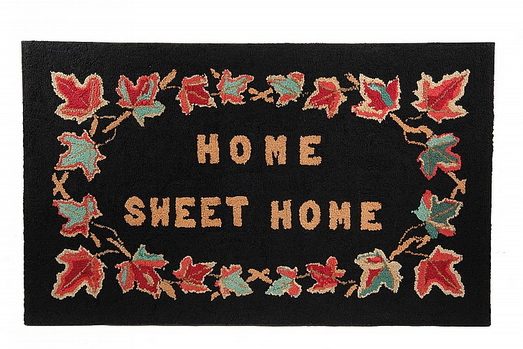 MOUNTED HOOKED RUG - 'Home Sweet Home'  Hooked Rug with Autumnal Maple Leaf Border, late 19th c, professionally mounted on stretcher
