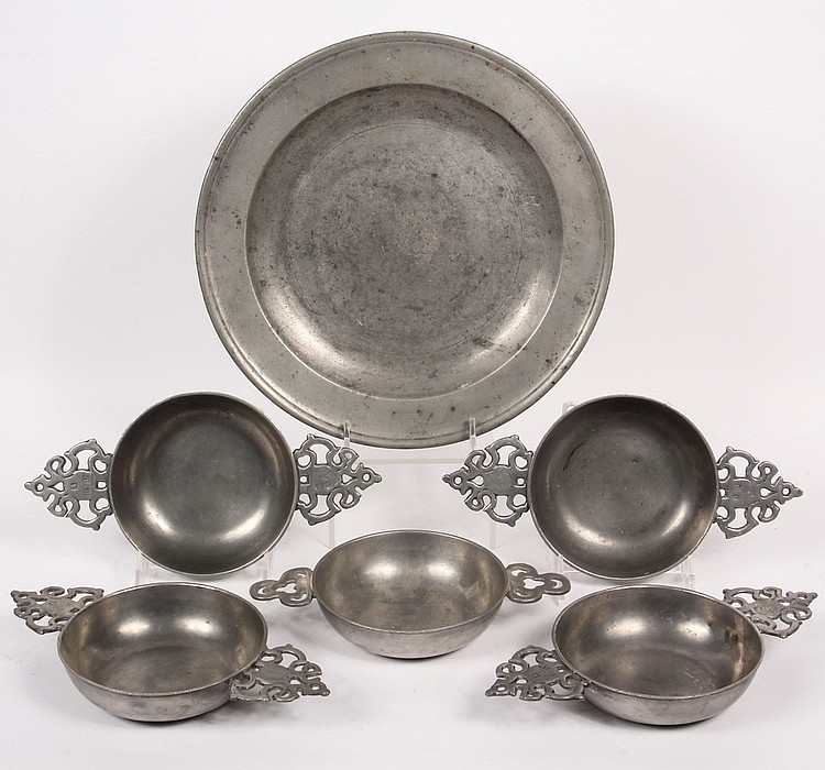 (6) PCS 18TH CENTURY PEWTER - Six pieces of early English pewter.