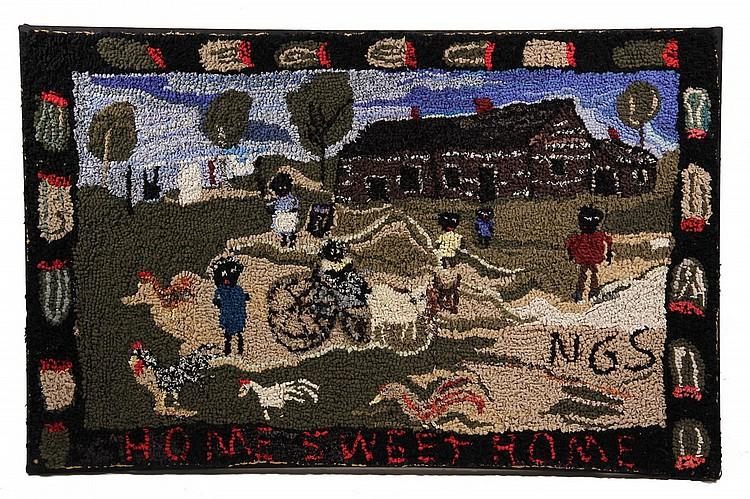 MOUNTED HOOKED RUG - 'Home Sweet Home', by contemporary Maine folk artist Nancy Gertrude Scott,  29