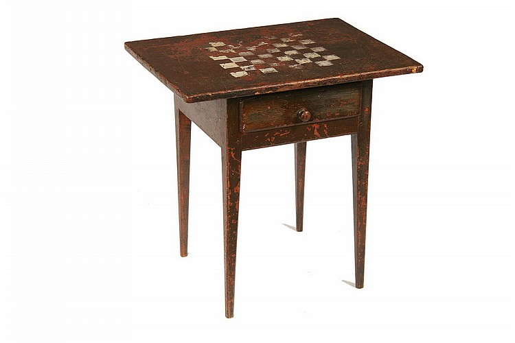 GAME TABLE - American Colonial Oblong Tavern Game Table in black paint with a painted white checkerboard top w/ breadboard ends, single