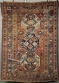 KAZAK RUG - 5' x 7' - Southwest Caucasus, late 19th c, stepped center medallion flanked by (2) octagonal medallions in navy and mediu