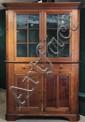 CORNER CUPBOARD - Early 19th c Pennsylvania Walnut Chippendale One Piece Corner Cupboard, 82 1/2