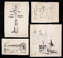 (16) ORIGINAL PEN & INK ILLUSTRATIONS - Social Satirical Drawings by Francis Gilbert Attwood (MA, 1856-1900), founding illustrator of t