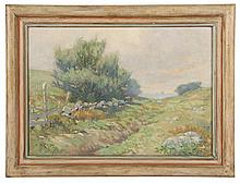 """EDWARD A. PAGE (MA, 1850-1928) - Annisquam Pasture, oil on canvas, signed lower left, Frost & Adams preparers label verso, in painted molded frame, OS: 15 1/2"""" x 20 1/2"""", SS: 11 1/2"""" x 16 1/2"""". Fine craquelure."""