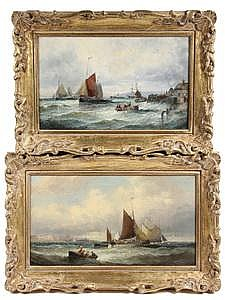2 OOCs Coastal Seascapes C Thornley British c1880