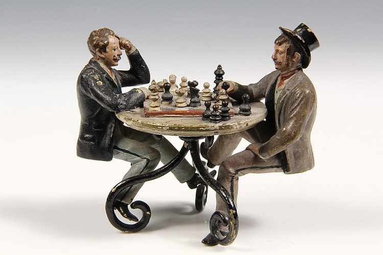 AUSTRIAN BRONZE - Painted Bronze Miniature, circa 1880, of two men playing chess at an outdoor cafe table, 3