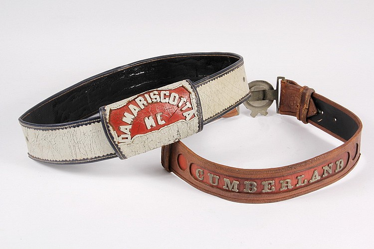 FIRE BELTS - Lot of Two Early 20th c. Maine Town Fire Belts: 1) Black, white & red