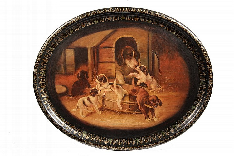 PAINTED TRAY - 19th c Oval Papier Mache Tray with painting of mother dog and six puppies frolicking in and around a doghouse and water