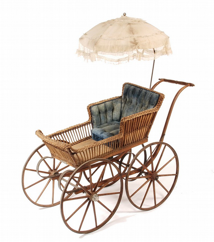 VICTORIAN BABY CARRIAGE - American Wicker Baby Carriage, circa 1880, with tag on front from 'Heywood Rattan Co., Boston & New York',