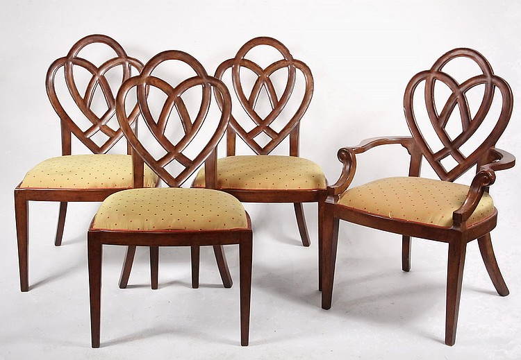 SET (10) DINING CHAIRS - Ten Contemporary Mahogany Dining Chairs, incl two armchairs, w/ pierced loop & heart back, 19