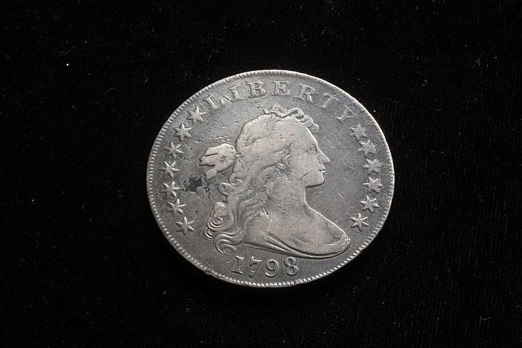 COIN - One Draped Bust Dollar, 1798, Heraldic Eagle, VF-XF.