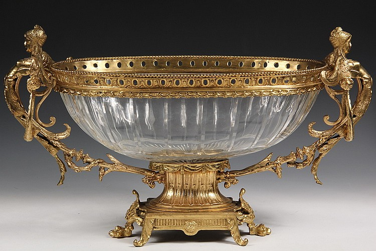 CENTER BOWL - Cut Crystal and Gilt Bronze Mounted Oval Center Bowl, 20th c Replica in French Empire Greek Revival Style, with handles i