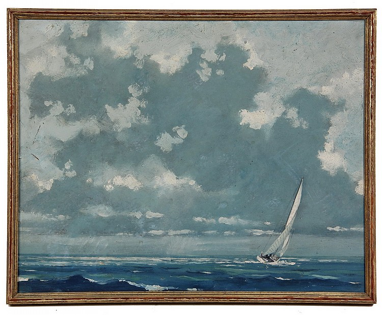 OOB - Sailboat in Open Water by Eric Sloane (NY/CT, 1905-1985), unsigned, marked verso 'Original oil by Eric Sloane, Roslyn, LI, NY',
