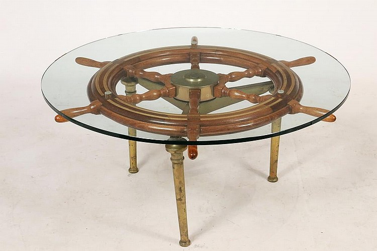 Shipwheel Coffee Table Low Round Table Made Up From A Maho