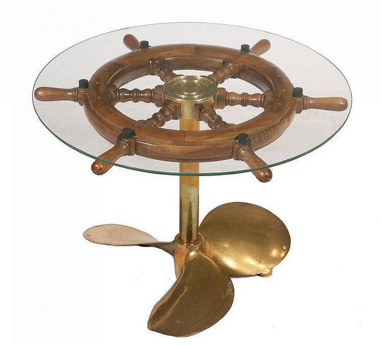 Ship 39 39 S Wheel Coffee Table Low Round Table Made Up From A