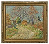 WILLIAM LESTER STEVENS (MA, 1888-1969) - Road to the Farm, oil on upson board, signed lower right, circa 1920, in the original hand carved gold Arts & Crafts frame, OS: 20