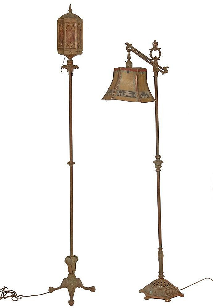 2 1920s vintage floor lamps both electric in gold finis for 1920s floor lamps