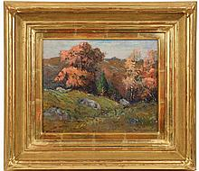 """EDWARD A. PAGE (MA, 1850-1928) - """"Sketch in Salem Pastures"""", oil on board, signed lower left, titled verso in the artist''s hand, also marked by him """"Swampscott #97"""" and """"Lynn Art Club"""". In replaced 22K gold leaf deep .."""