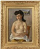 ROBERT PHILIPP (NY, 1895-1981) - Seated Semi-Nude Woman in Yellow Dress, oil on canvas, signed lower right and verso, name tag on vintage gilt gesso frame, OS: 22