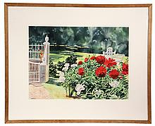 WATERCOLOR - Garden Scene with Begonias & Bench by William Cantwell (PA/FL, 1947 - ), signed lower left & dated '88. In wood stick fra