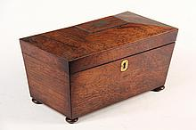 ENGLISH TEA CADDY - Regency Rosewood Casket Form Tea Caddy, brass top plate & escutcheon, bun feet (one missing), two covered compartme