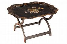 PAPIER MACHE TRAY ON STAND - Victorian Tole Painted Tray on later black, red & gold painted folding stand, 23 1/2