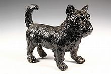 CAST STONE DOG DOOR STOP - Figural Terrier Door Stop in black enamel painted cast stone, standing and wearing a studded collar, early 2