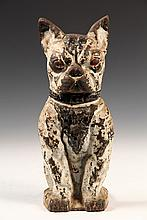 FIGURAL CAST IRON DOORSTOP - Seated Boston Terrier Dog, hollow back, with wedge flange, in black & white paint. Circa 1910. 11 1/2