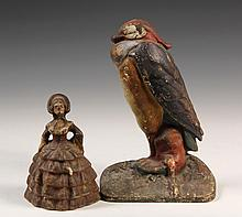 (2) CAST IRON DOORSTOPS - Painted Iron Standing Macaw Bird with flat back and Standing Southern Belle in full round. Circa 1920s. 7 1/2