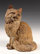 FIGURAL CAST IRON DOORSTOP - Fully Dimensional Realistic Seated Cat in remnants of white paint, with blue eyes. Unmarked, ca 1910. 9 1/