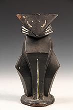 FIGURAL CAST IRON DOORSTOP - Art Deco Seated Cat in black and white paint, by Hubley. 10