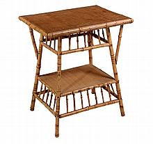 BAMBOO SIDE TABLE - 1890s Vintage Scorched Bamboo Table with woven grass top and lower shelf, latticed skirts with diagonal braces to t