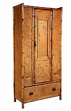 BAMBOO & SEAGRASS ARMOIRE - 19th c. Cottage Armoire with scorched bamboo frame, seagrass panels single door (missing mirror), only hook