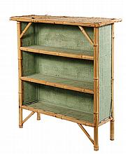 BAMBOO BOOKSHELF - Circa 1900 Three-Shelf Bamboo Framed Stand with green painted woven seagrass panels. 39