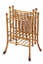 BAMBOO CANTERBURY - Scorched Bamboo Magazine Rack with root ball feet, three compartments, ball tops. Circa 1900. 30