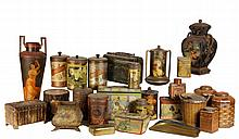 (25) ANTIQUE ADVERTISING TINS - Mostly Litho, circa 1890-1910, European & American, including tea & coffee, tobacco, a vase with matado