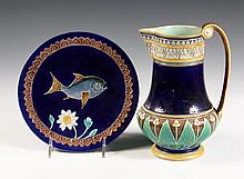 MAJOLICA PITCHER & PLATE - Wedgwood Etruscan Pitcher, stamped DAX, with registry mark, scribed BR artist's monogram; PLUS Holdcroft Pl