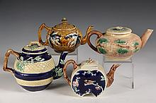 (4) MAJOLICA TEA POTS - Including: Bamboo Pattern by George Morley, East Liverpool; Dark Blue with Roses; Pink Floral Pattern & Orienta