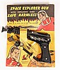 SPACE TOY - Space Explorer Gun with Explosive Dart by Palmer Plastics Inc., Brooklyn, NY. With display card. Gun is all yellow on rever