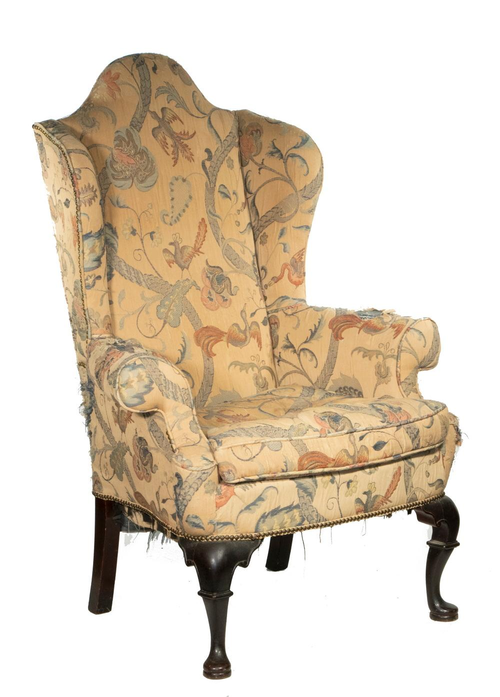 CUSTOM CARVED QUEEN ANNE WING CHAIR